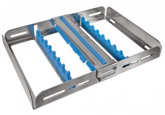 Waschtray für 8 Instrumente mit Silikon auflage und Fixierclip 18 x 13,6 x 2,7cm